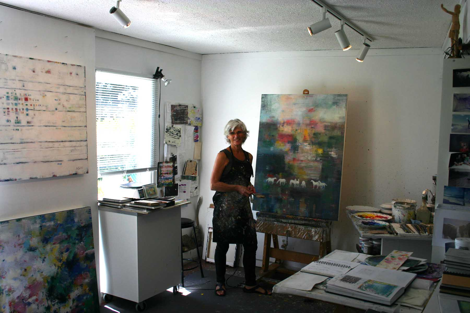 2016 Monica Painting in her Studio Main page